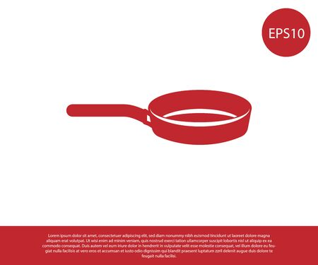 Red Frying pan icon isolated on white background. Fry or roast food symbol. Vector Illustration