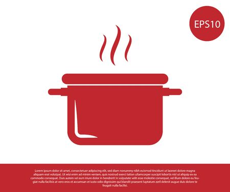 Red Cooking pot icon isolated on white background. Boil or stew food symbol. Vector Illustration