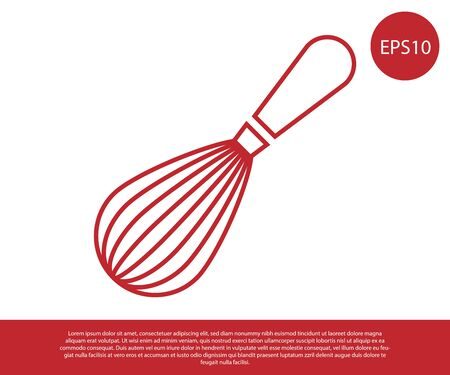 Red Kitchen whisk icon isolated on white background. Cooking utensil, egg beater. Cutlery sign. Food mix symbol. Vector Illustration