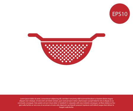 Red Kitchen colander icon isolated on white background. Cooking utensil. Cutlery sign. Vector Illustration