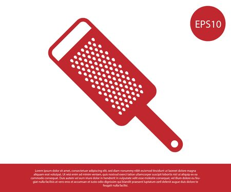 Red Grater icon isolated on white background. Kitchen symbol. Cooking utensil. Cutlery sign. Vector Illustration  イラスト・ベクター素材