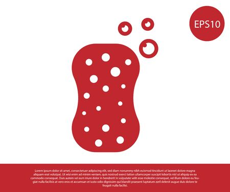 Red Sponge with bubbles icon isolated on white background. Wisp of bast for washing dishes. Cleaning service logo. Vector Illustration Ilustracja
