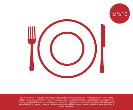 Red Plate, fork and knife icon isolated on white background. Cutlery symbol. Restaurant sign. Vector Illustration