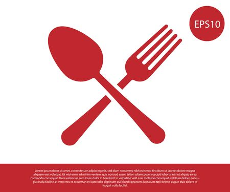 Red Crossed fork and spoon icon isolated on white background. Cooking utensil. Cutlery sign. Vector Illustration  イラスト・ベクター素材