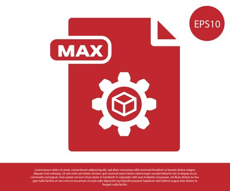 Red MAX file document. Download max button icon isolated on white background. MAX file symbol. Vector Illustration