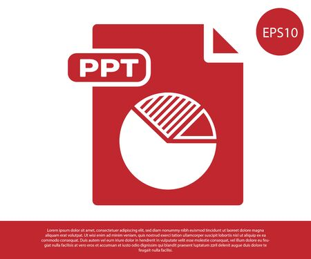 Red PPT file document. Download ppt button icon isolated on white background. PPT file presentation. Vector Illustration Stock Illustratie