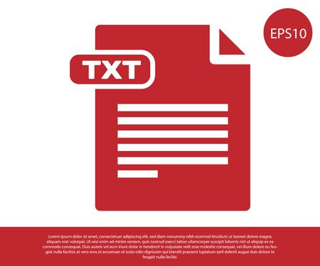 Red TXT file document. Download txt button icon isolated on white background. Text file extension symbol. Vector Illustration Stock Illustratie