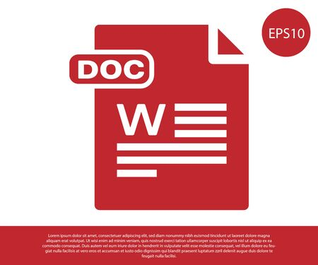 Red DOC file document. Download doc button icon isolated on white background. DOC file extension symbol. Vector Illustration