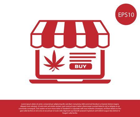 Red Laptop and medical marijuana or cannabis leaf icon isolated on white background. Online buying symbol. Supermarket basket. Vector Illustration Иллюстрация