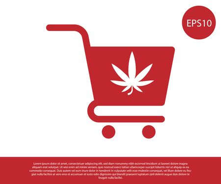 Red Shopping cart with marijuana or cannabis leaf icon isolated on white background. Online buying. Delivery service. Supermarket basket. Vector Illustration Иллюстрация