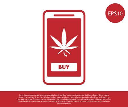 Red Mobile phone and medical marijuana or cannabis leaf icon isolated on white background. Online buying symbol. Supermarket basket. Vector Illustration