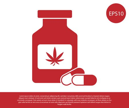Red Medical bottle with marijuana or cannabis leaf icon isolated on white background. Mock up of cannabis oil extracts in jars. Vector Illustration  イラスト・ベクター素材