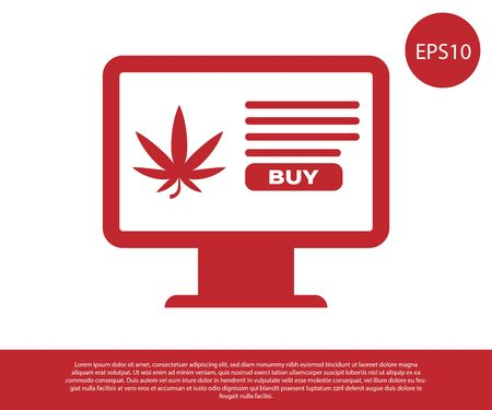 Red Computer monitor and medical marijuana or cannabis leaf icon isolated on white background. Online buying symbol. Supermarket basket. Vector Illustration Иллюстрация