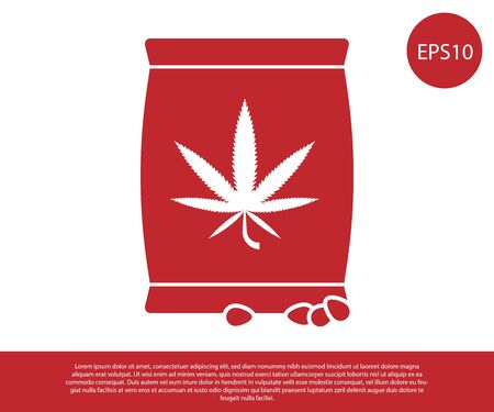Red Marijuana or cannabis seeds in a bag icon isolated on white background. Hemp symbol. The process of planting marijuana. Vector Illustration