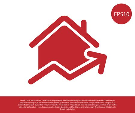 Red Rising cost of housing icon isolated on white background. Rising price of real estate. Residential graph increases. Vector Illustration Ilustração
