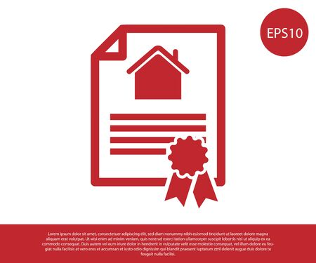 Red House contract icon isolated on white background. Contract creation service, document formation, application form composition. Vector Illustration Çizim