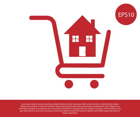 Red Shopping cart with house icon isolated on white background. Buy house concept. Home loan concept, rent, buying a property. Vector Illustration