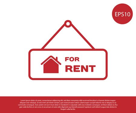 Red Hanging sign with text For Rent icon isolated on white background. Signboard with text For Rent. Vector Illustration Ilustrace