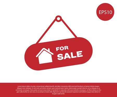Red Hanging sign with text For Sale icon isolated on white background. Signboard with text For Sale. Vector Illustration Vectores