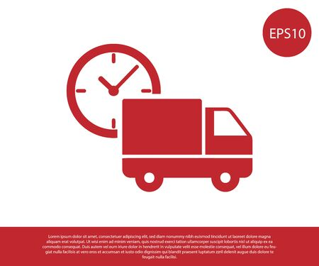 Red Logistics delivery truck and clock icon isolated on white background. Delivery time icon. Vector Illustration