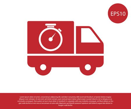 Red Logistics delivery truck and stopwatch icon isolated on white background. Delivery time icon. Vector Illustration Illustration