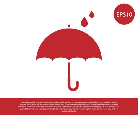 Red Umbrella and rain drops icon isolated on white background. Waterproof icon. Protection, safety, security concept. Water resistant symbol. Vector Illustration Çizim