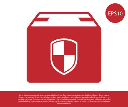 Red Delivery pack security symbol with shield icon isolated on white background. Delivery insurance. Insured cardboard boxes beyond the shield. Vector Illustration