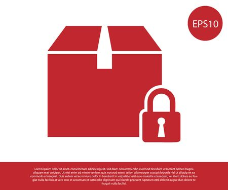 Red Locked package icon isolated on white background. Lock and cardboard box. Vector Illustration