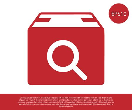 Red Search package icon isolated on white background. Parcel tracking symbol. Magnifying glass and cardboard box. Logistic and delivery. Vector Illustration Çizim