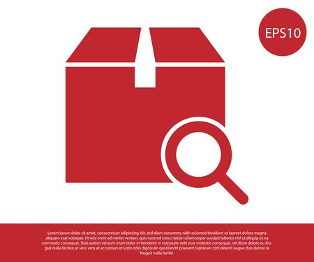 Red Search package icon isolated on white background. Parcel tracking symbol. Magnifying glass and cardboard box. Logistic and delivery. Vector Illustration Illustration