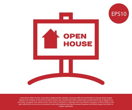 Red Hanging sign with text Open house icon isolated on white background. Signboard with text Open house. Vector Illustration