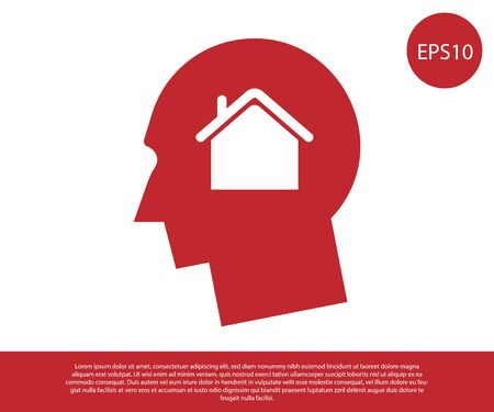 Red Man dreaming about buying a new house icon isolated on white background. Vector Illustration