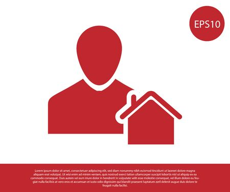 Red Realtor icon isolated on white background. Buying house. Vector Illustration