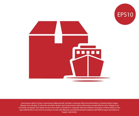 Red Cargo ship with boxes delivery service icon isolated on white background. Delivery, transportation. Freighter with parcels, boxes, goods. Vector Illustration