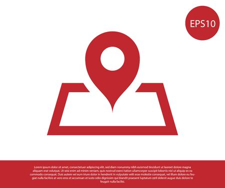 Red Placeholder on map paper in perspective icon isolated on white background. Vector Illustration 일러스트
