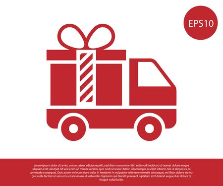 Red Delivery truck with gift icon isolated on white background. Vector Illustration
