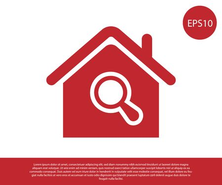 Red Search house icon isolated on white background. Real estate symbol of a house under magnifying glass. Vector Illustration  イラスト・ベクター素材