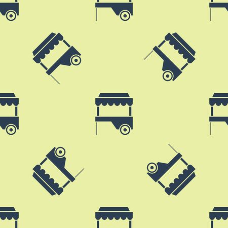 Blue Fast street food cart with awning icon isolated seamless pattern on white background. Urban kiosk. Vector Illustration