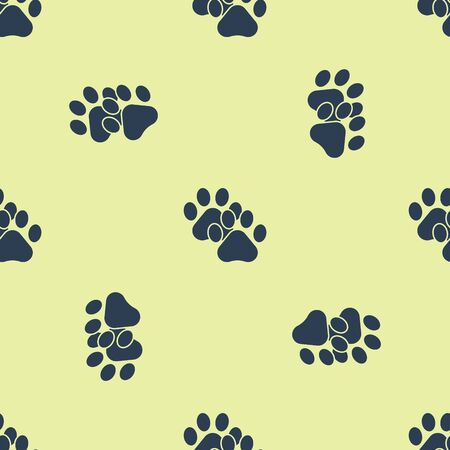 Blue Paw print icon isolated seamless pattern on white background. Dog or cat paw print. Animal track. Vector Illustration