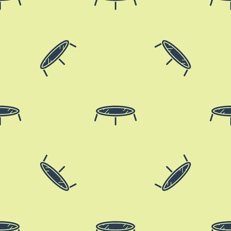 Blue Jumping trampoline icon isolated seamless pattern on white background. Vector Illustration