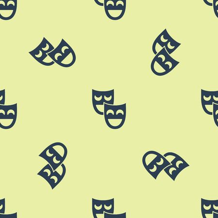 Blue Comedy theatrical masks icon isolated seamless pattern on white background. Vector Illustration
