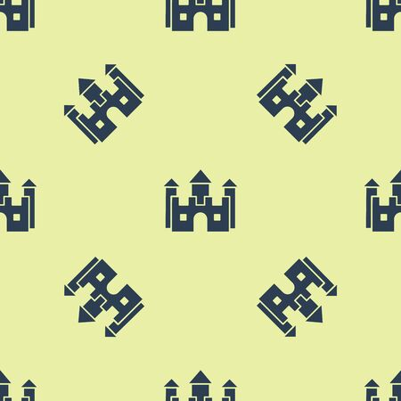 Blue Castle icon isolated seamless pattern on white background. Vector Illustration