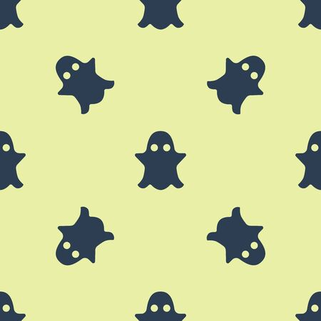 Blue Ghost icon isolated seamless pattern on white background. Vector Illustration