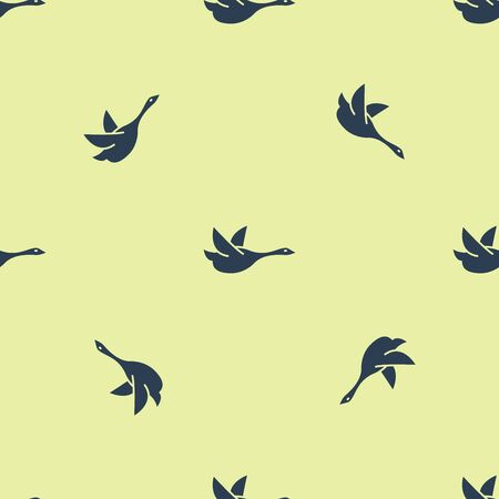 Blue Flying duck icon isolated seamless pattern on yellow background. Vector Illustration  イラスト・ベクター素材