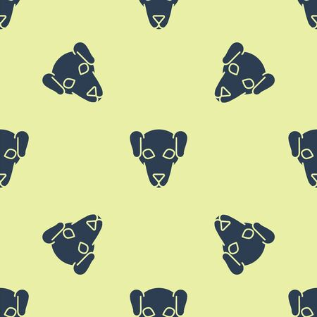 Blue Hunting dog icon isolated seamless pattern on yellow background. Vector Illustration Archivio Fotografico - 129234479