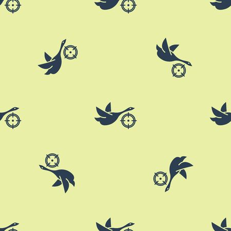 Blue Hunt on duck with crosshairs icon isolated seamless pattern on yellow background. Hunting club  with duck and target. Rifle lens aiming a duck. Vector Illustration