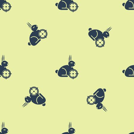 Blue Hunt on rabbit with crosshairs icon isolated seamless pattern on yellow background. Hunting club  with rabbit and target. Rifle lens aiming a hare. Vector Illustration