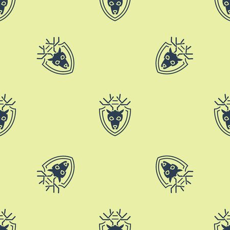 Blue Deer head with antlers on shield icon isolated seamless pattern on yellow background. Hunting trophy on wall. Vector Illustration