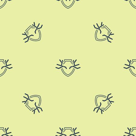 Blue Deer antlers on shield icon isolated seamless pattern on yellow background. Hunting trophy on wall. Vector Illustration