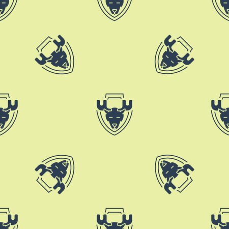 Blue Moose head on shield icon isolated seamless pattern on yellow background. Hunting trophy on wall. Vector Illustration Иллюстрация